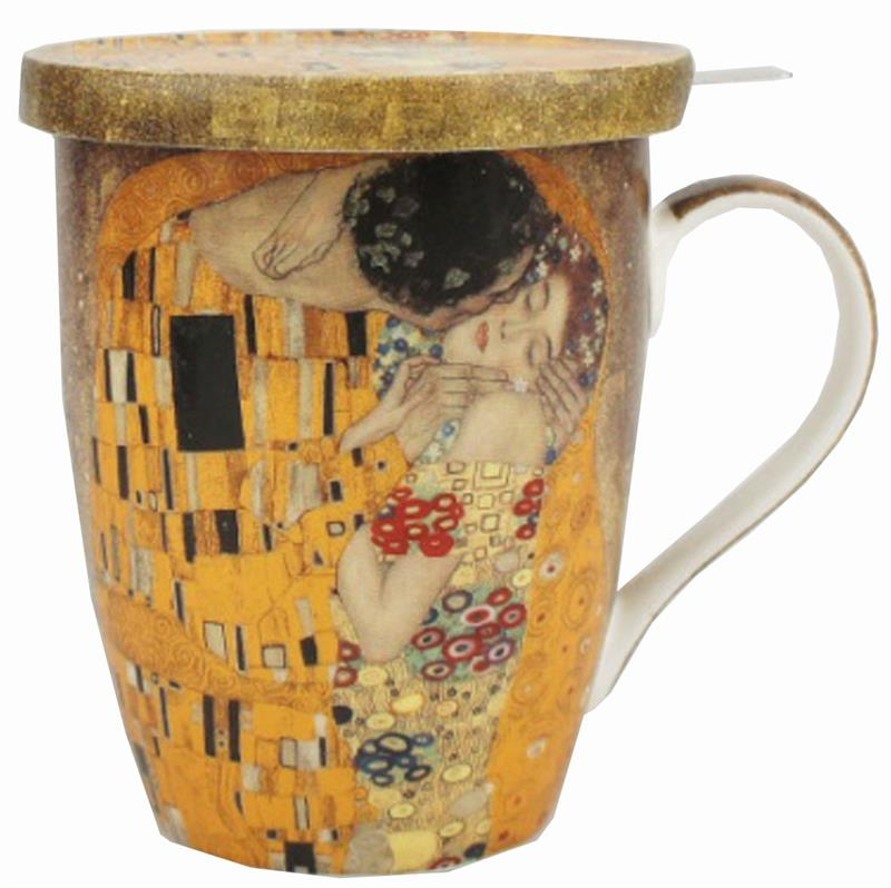klimt the kiss tea mug with infuser 15 oz. Black Bedroom Furniture Sets. Home Design Ideas