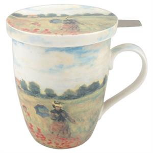 Monet Poppies Tea Mug with Infuser and Lid