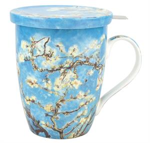 Van Gogh Almond Blossom Tea Mug w/ Infuser and Lid