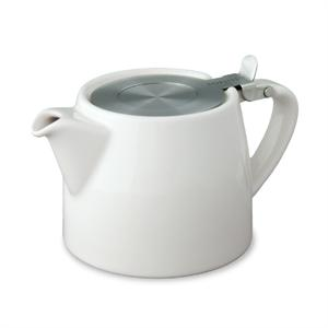 Stump Teapot with Stainless Lid & Infuser 18 oz. - White