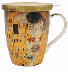 Klimt The Kiss Tea Mug with Infuser and Lid