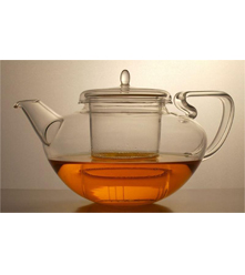 Art Deco-style Glass Pot with Infuser - 35 oz.