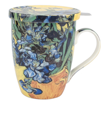 Van Gogh Irises Tea Mug with Infuser and Lid
