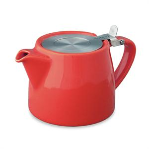 Stump Teapot with Stainless Lid & Infuser 18 oz. - Red