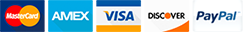 We proudly accept Visa, MasterCard, American Express, and Discover.